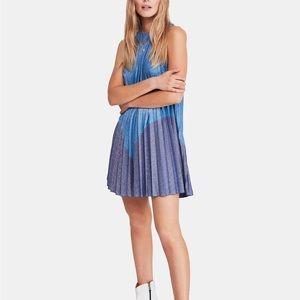 Free People Pleated Metallic Blue Women Dress NEW